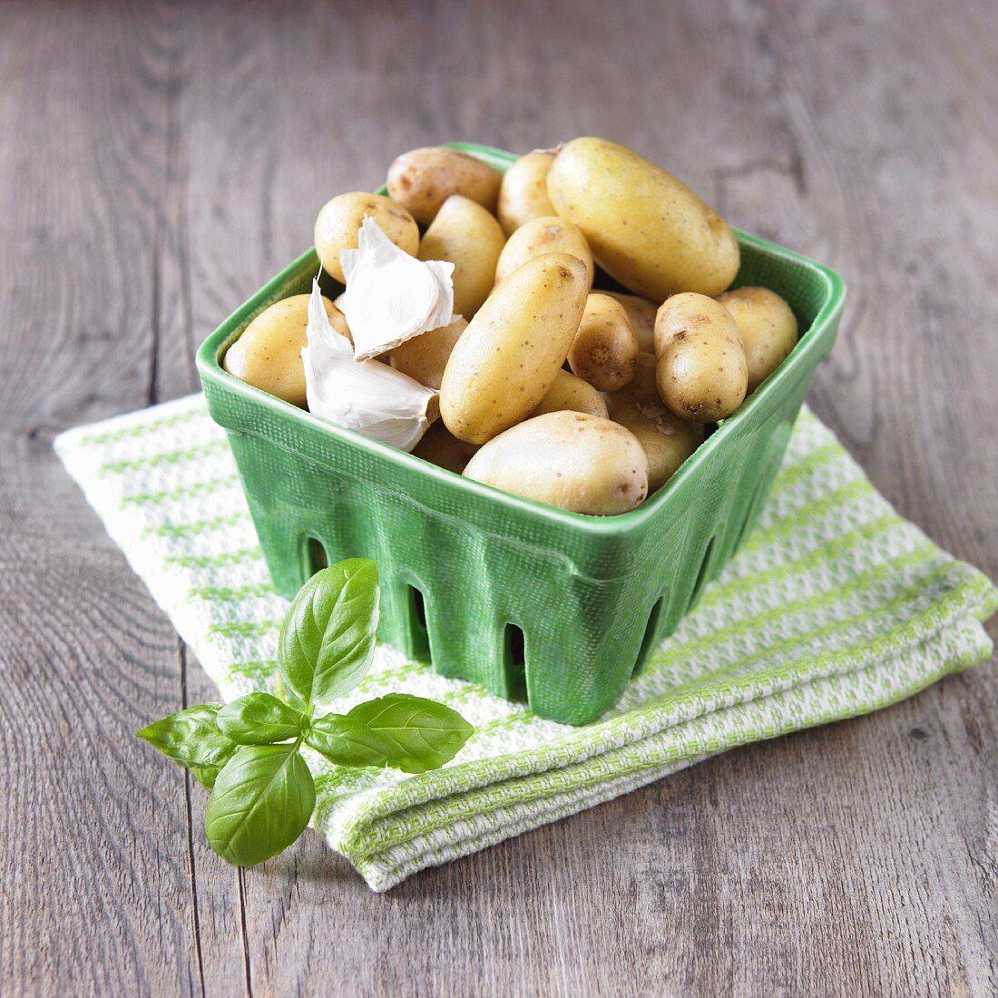 Carton of Organic Baby Yukon Potatoes with Basil and Garlic