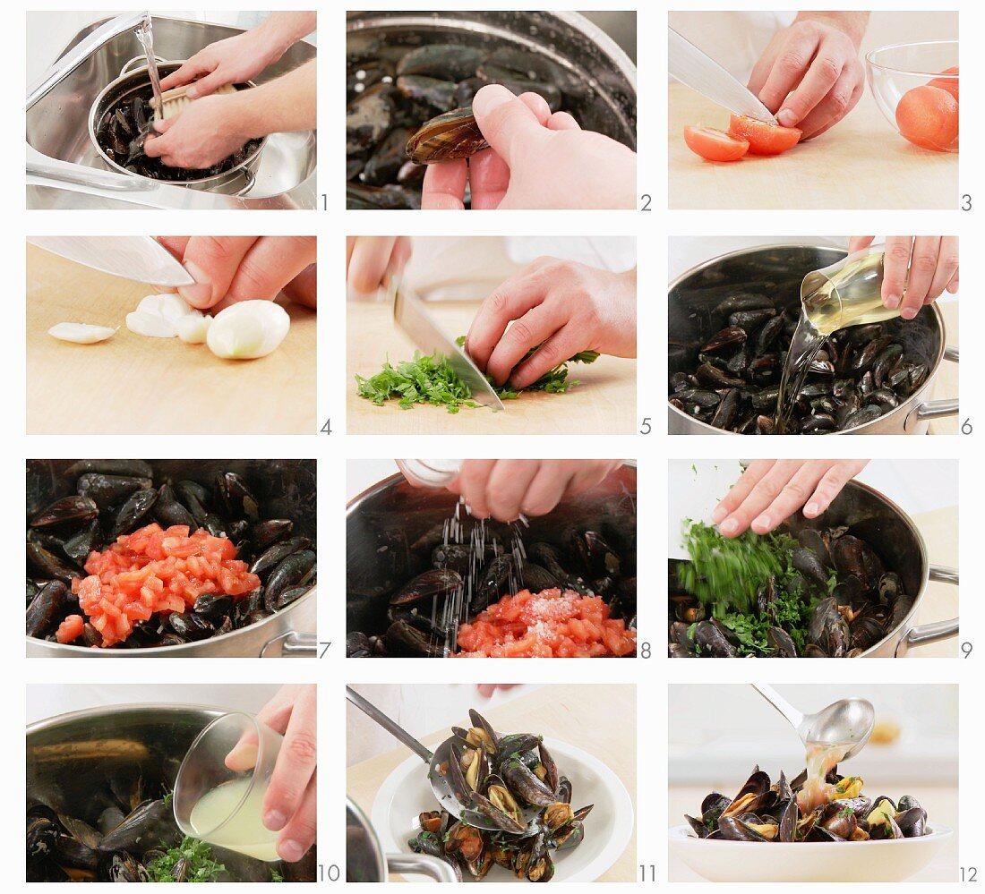 Mussels in a wine broth being prepared