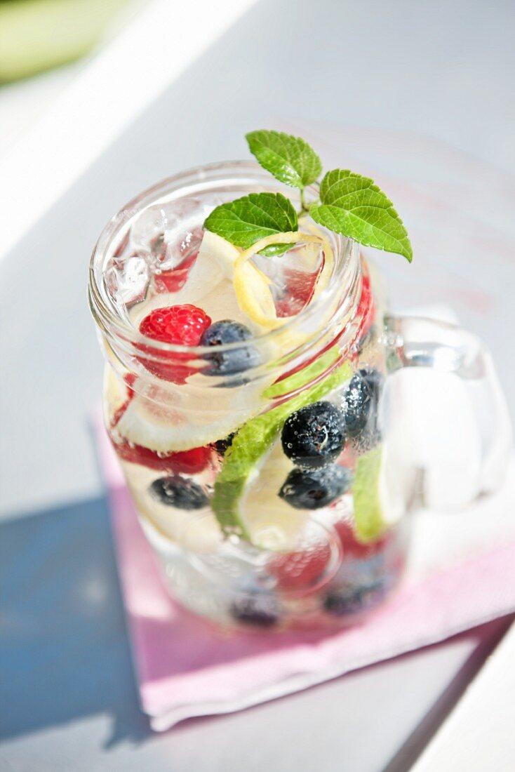 Blackberries, Blueberries, Raspberries, Lemon and Lime in Mason Jar with Soda and Ice; Mint Garnish