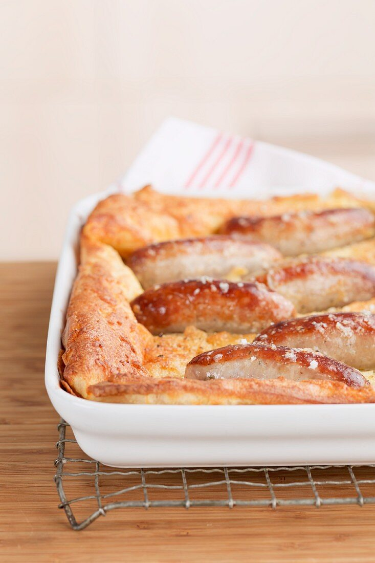 Toad in the hole (sausages in batter, England)