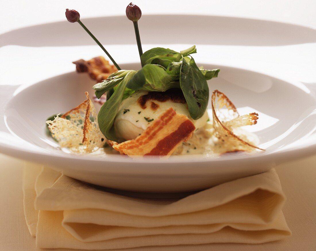 Ouvo gratinato al Taleggio (egg with cheese gratin)