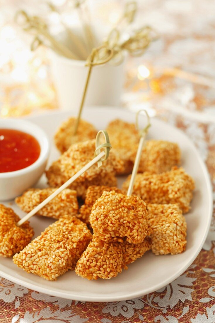 Chicken with a sesame crust and chilli sauce