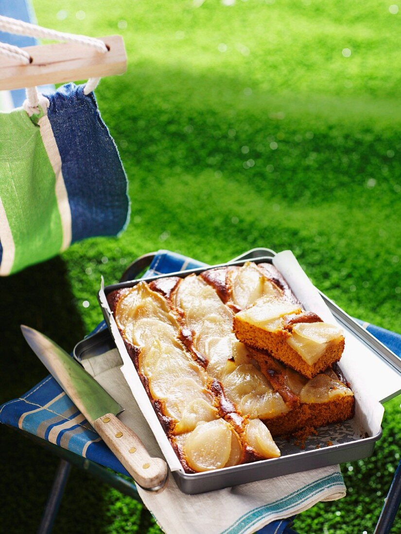 Pear and ginger slices for a picnic