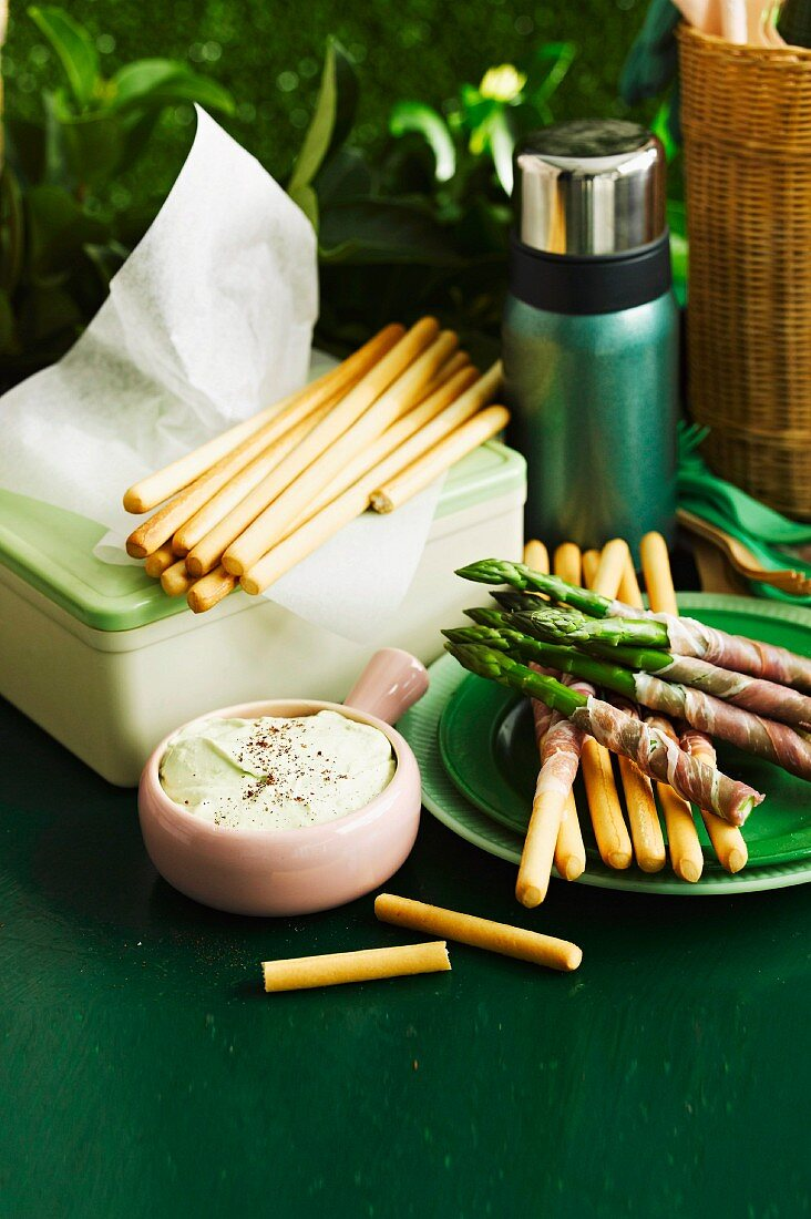 Grissini and asparagus with Prosciutto and a bean and feta dip