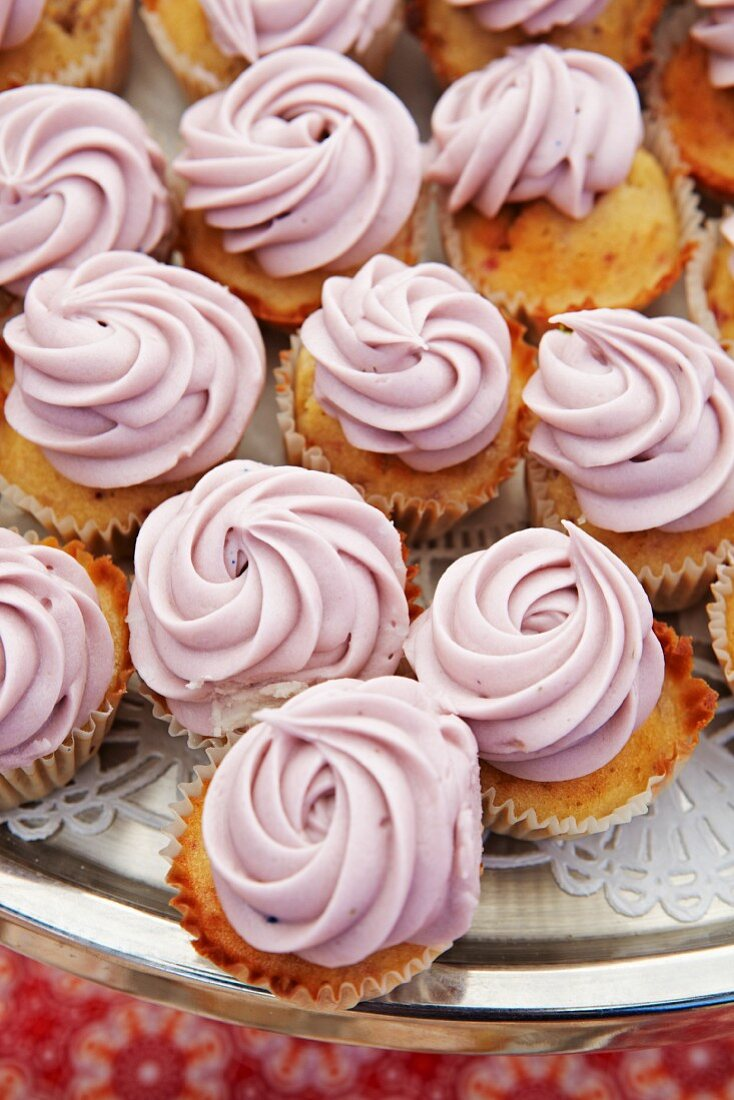 Mini Cupcakes with Blueberry Frosting