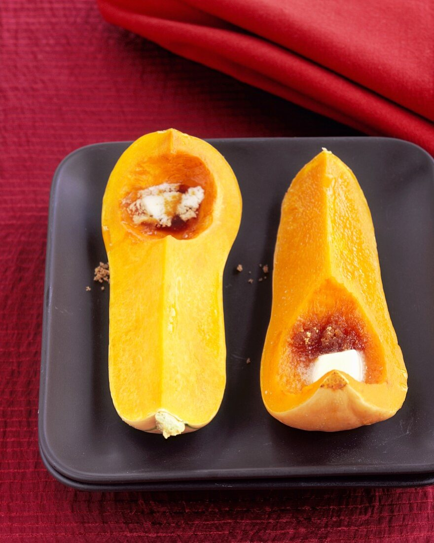 Baked Butternut Squash with Butter and Brown Sugar