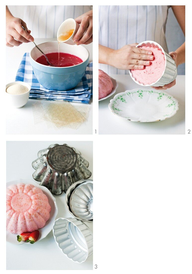 Strawberry pudding being prepared