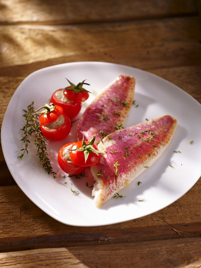 Red mullet with stuffed cherry tomatoes