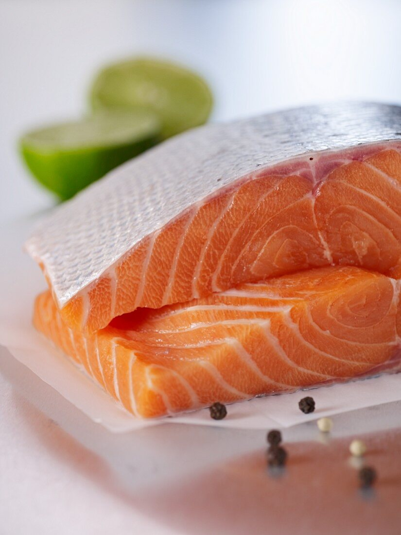 Salmon fillets one on top of the other