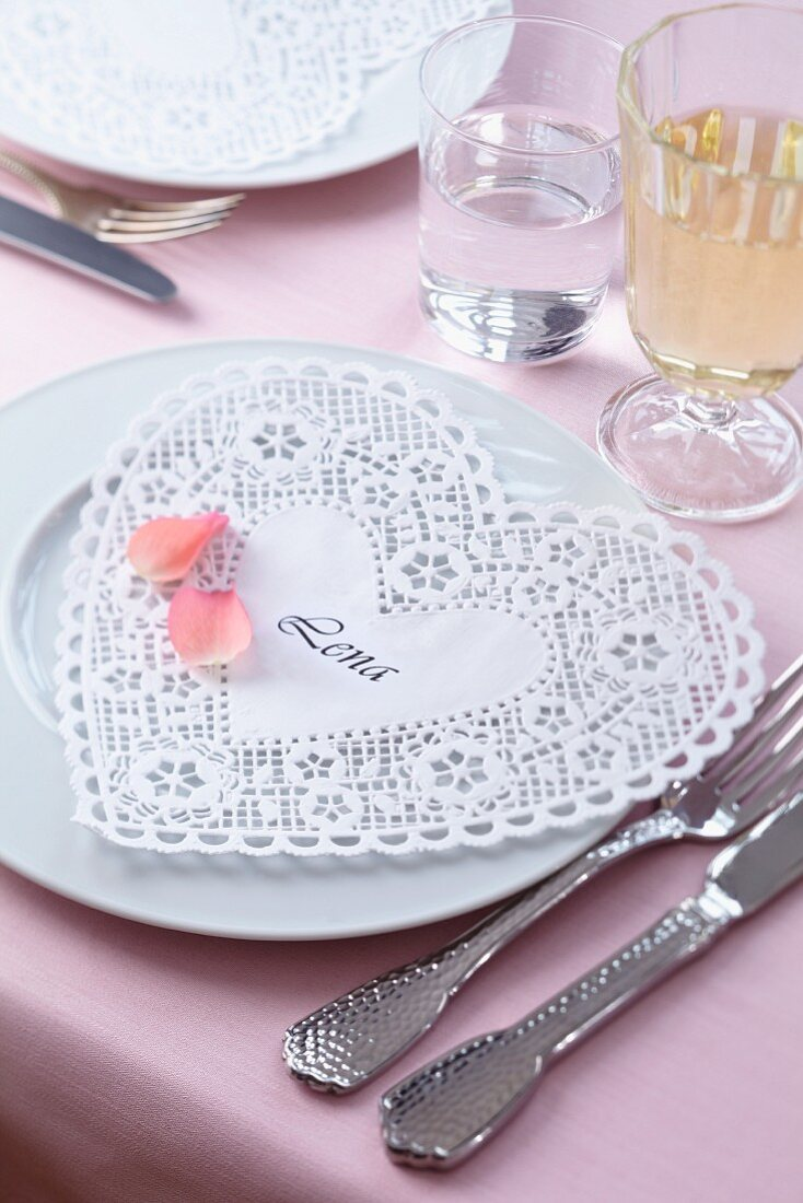 Place name made from heart-shaped doily