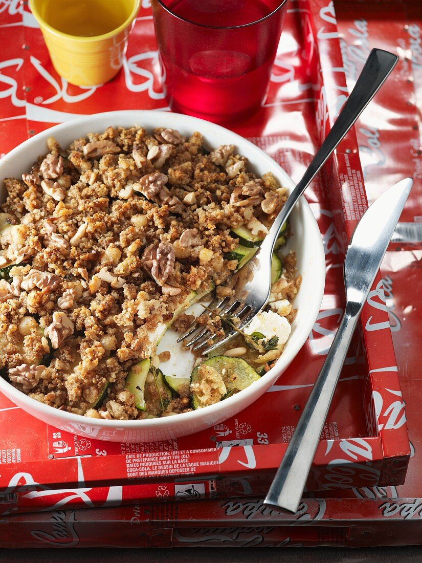 Vegetable casserole with crumble topping