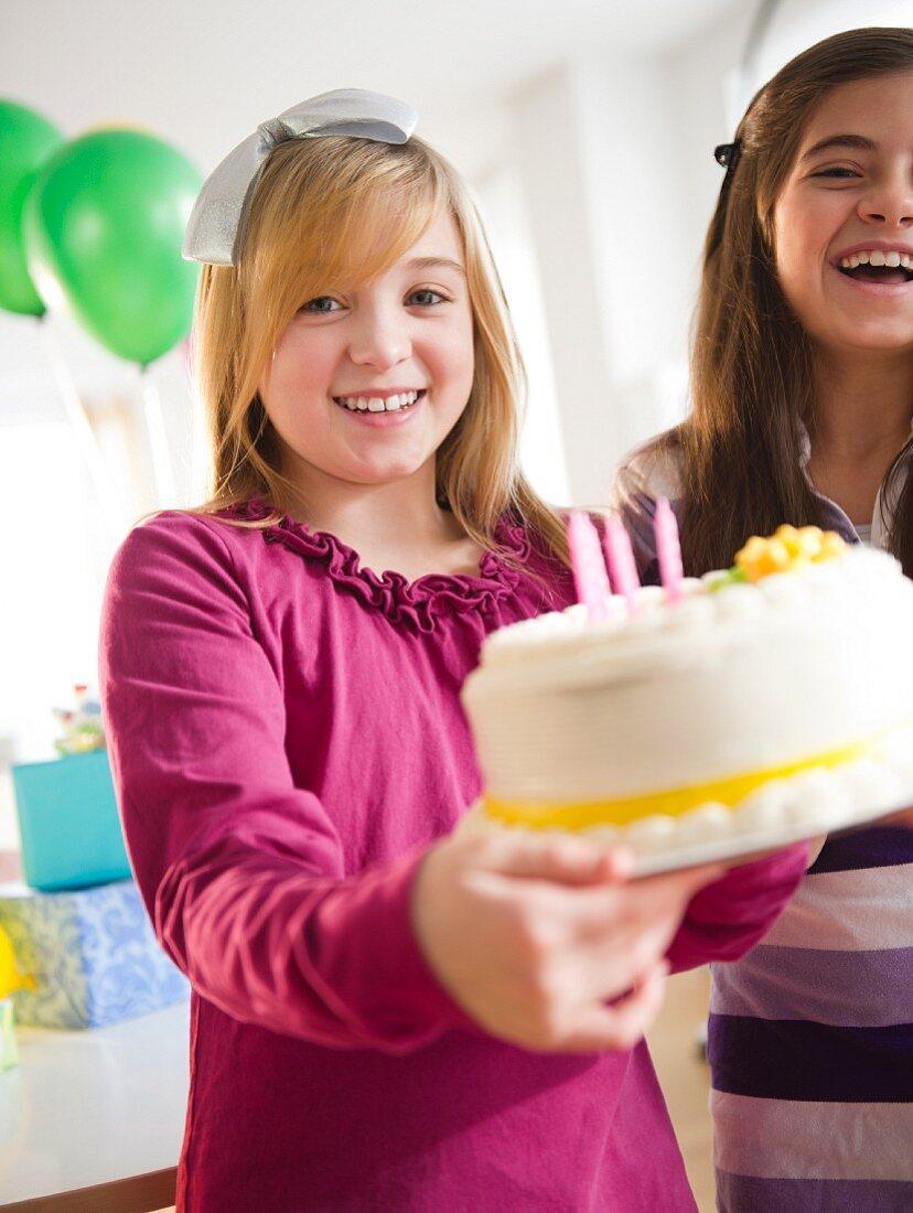 Two girls celebrating birthday