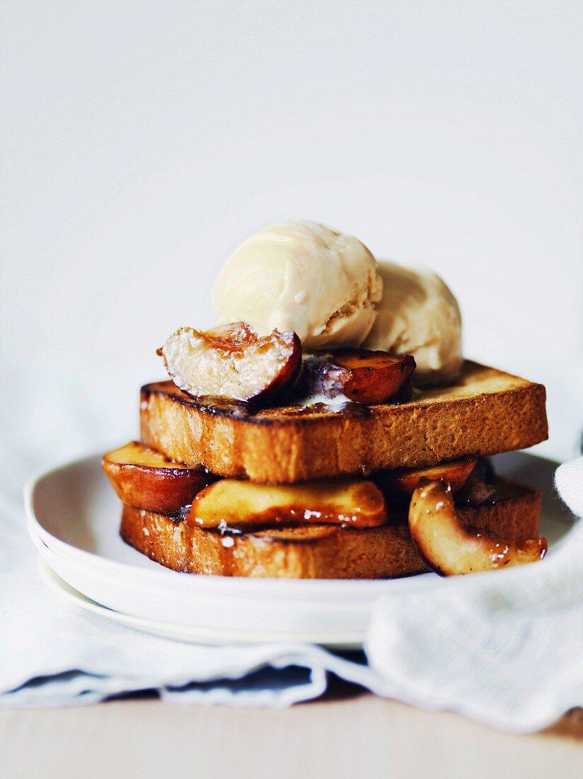 Peach brioche toasts with malted milk ice-cream