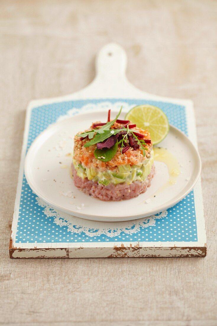 Tuna and salmon tartar with avocado
