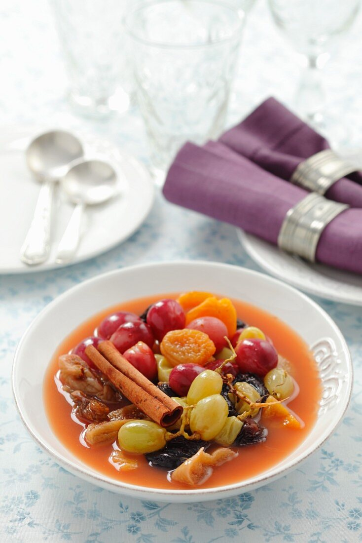 Dried fruit and grapes compote