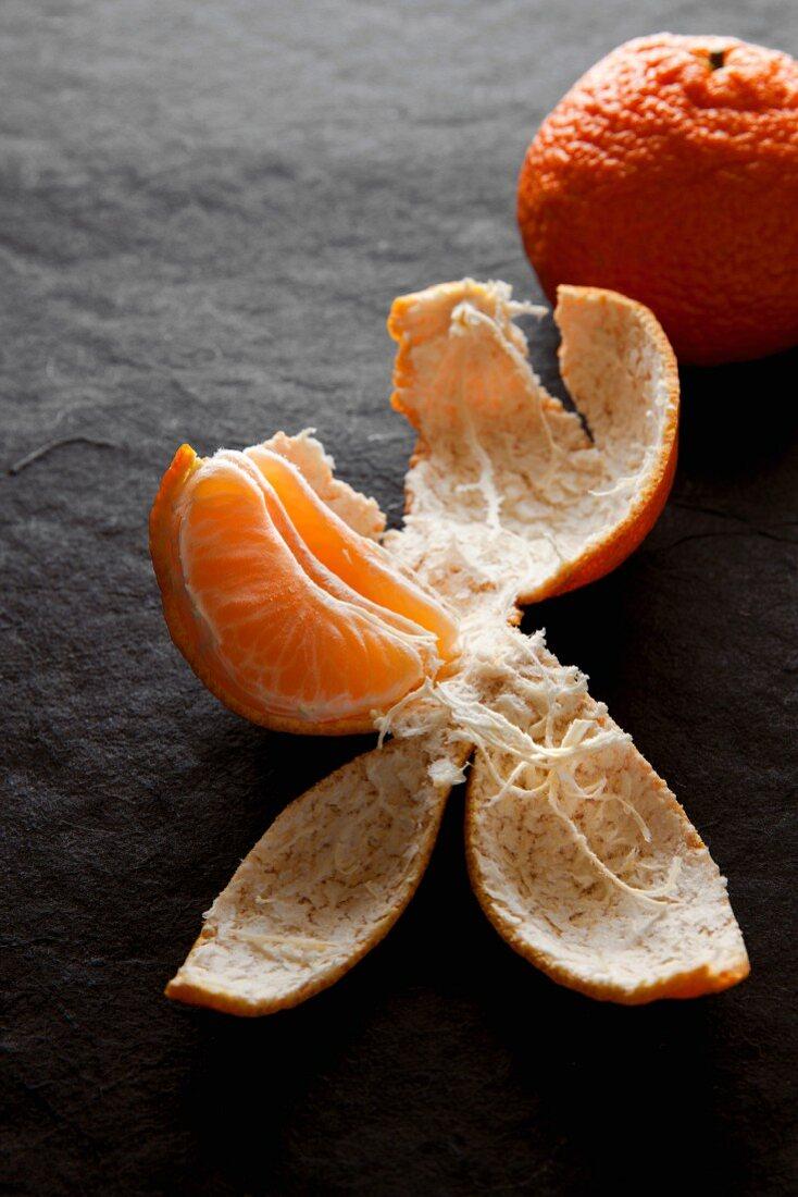 Tangerine wedge in the peel