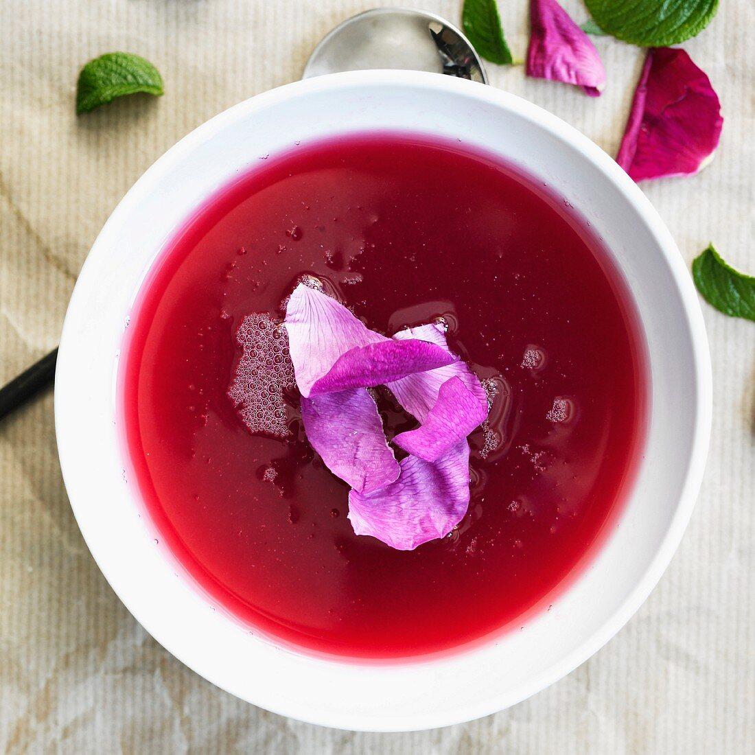 Fruit soup with petals