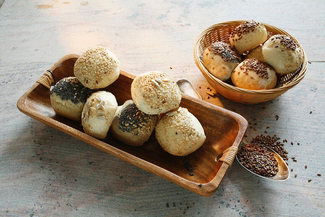 Buttermilk rolls with sesame seeds, poppy seeds and linseeds