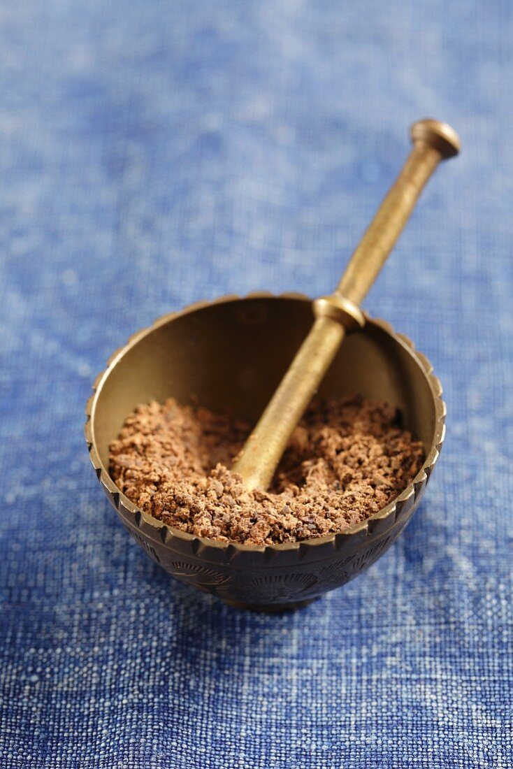 Allspice in a mortar (ground)