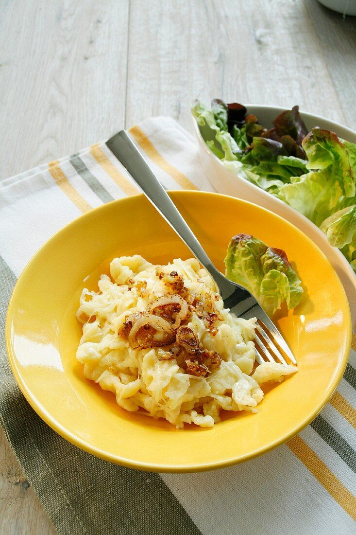 Cheese Spätzle (soft egg noodles from Swabia) with onions