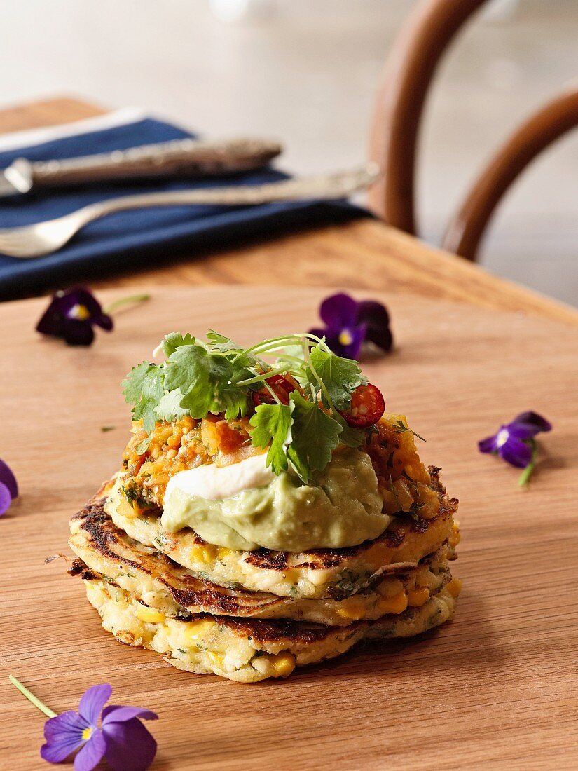 Coriander and sweetcorn pancakes with salsa and sour cream