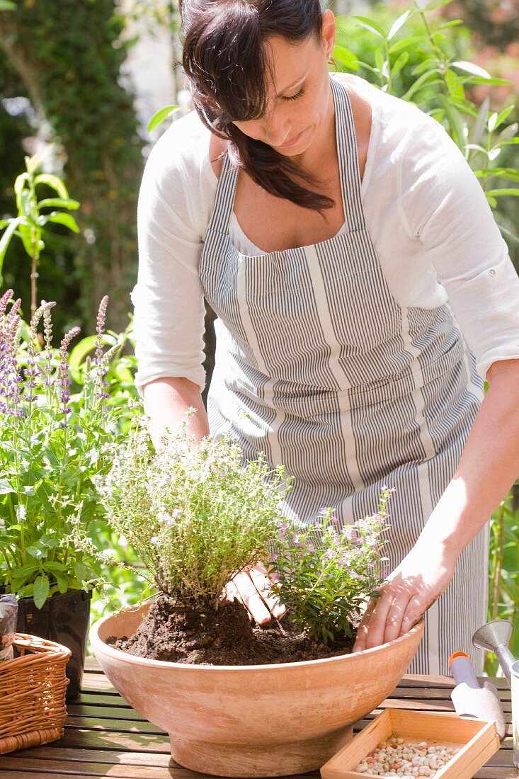 Woman planting herbs in terracotta bowl