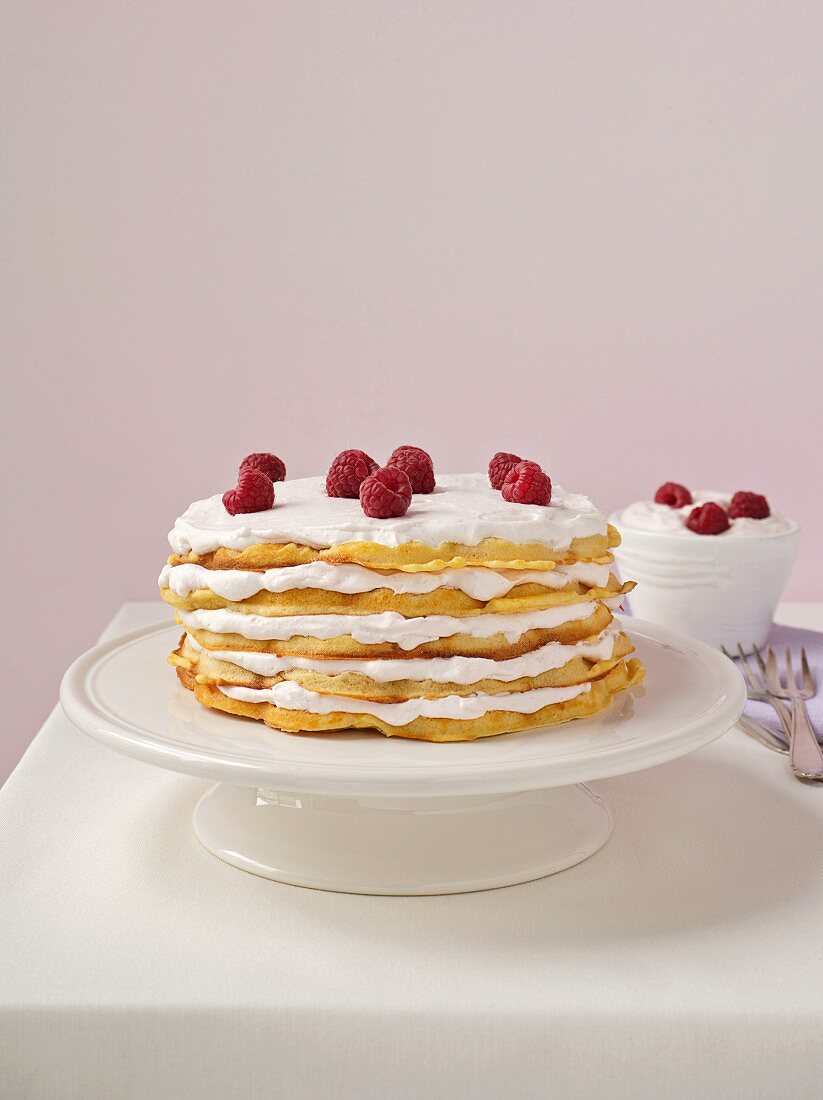 Waffle layer cake with raspberries