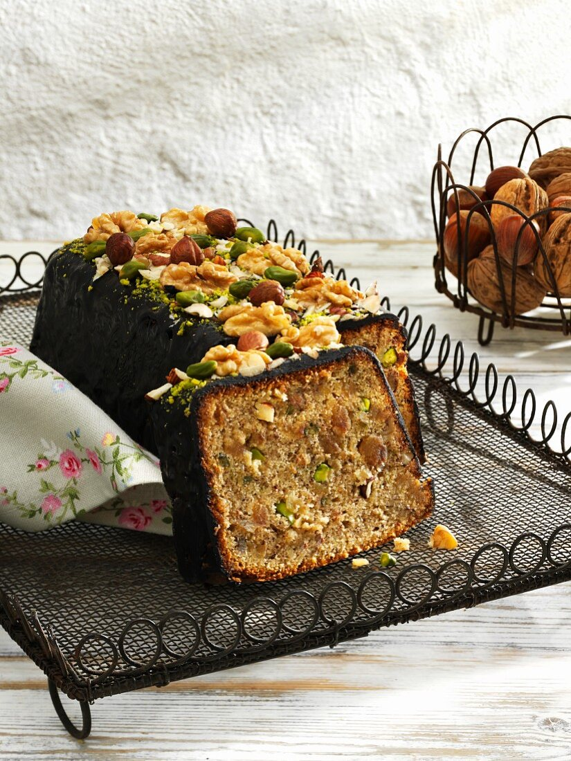 Nut cake with marzipan