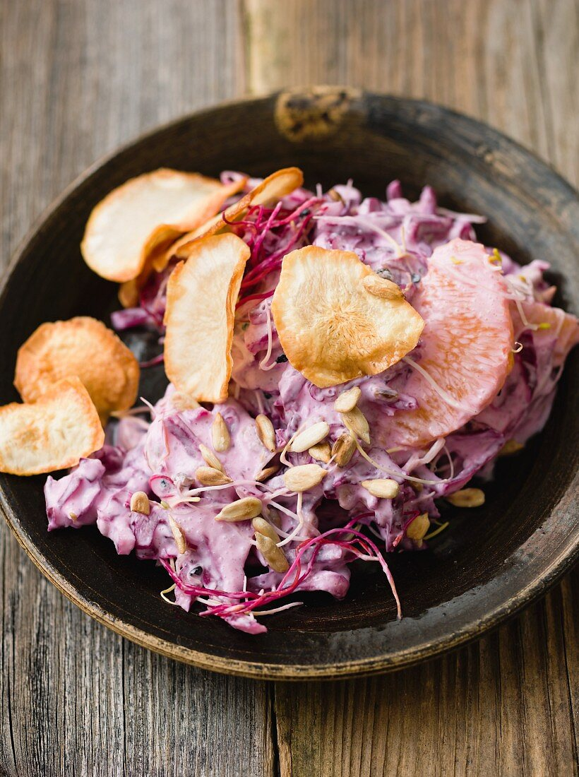 Red coleslaw with Jerusalem artichokes and sunflower seeds