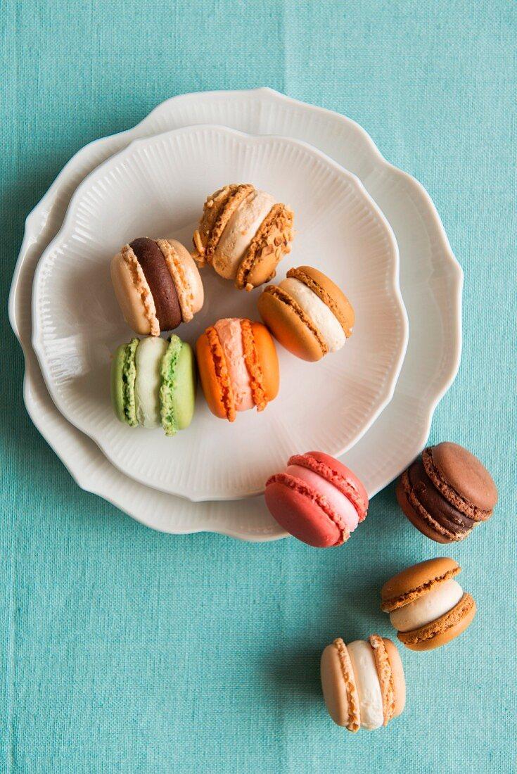 Coloured macarons