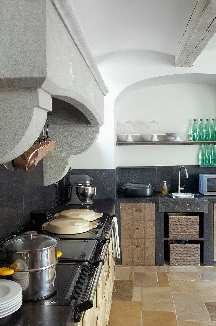 Vintage Kuchenzeile Mit Arbeitsplatte Bilder Kaufen 11175245 Stockfood