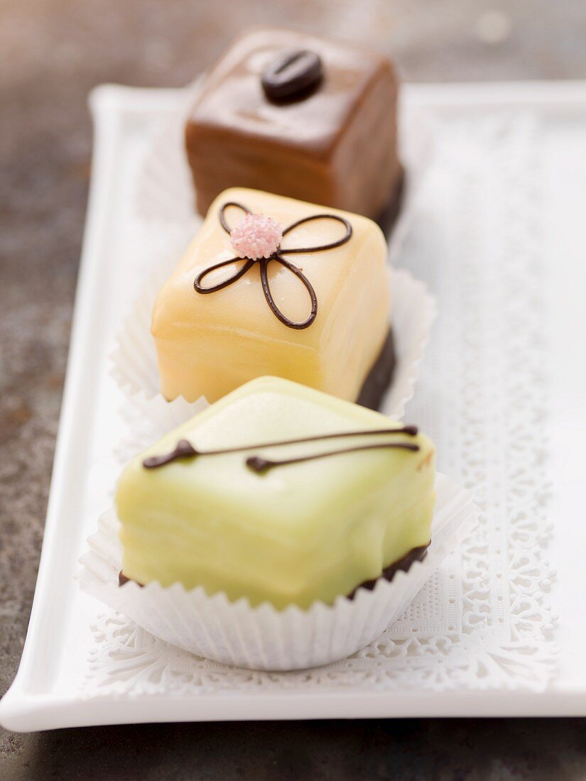 Three different petits fours