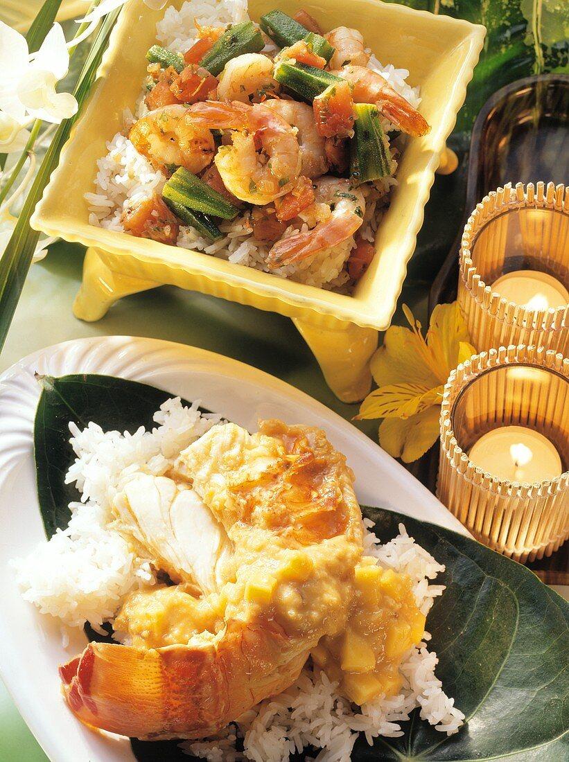 Shrimps with okra & langouste, Creole style