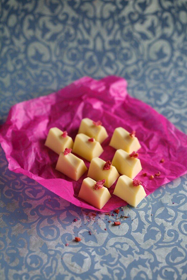 Rose and mirabelle plum chocolates