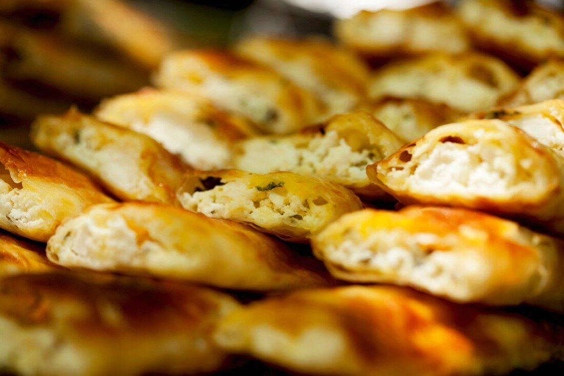 Böreks (Turkish pastry parcels) filled with feta cheese