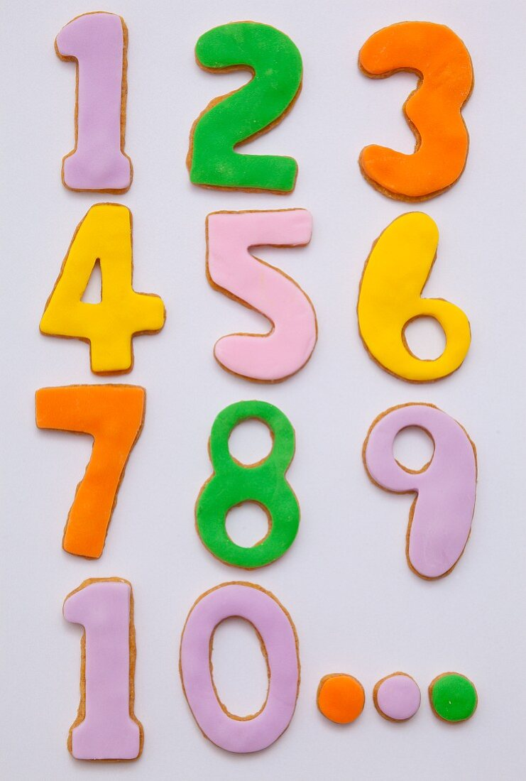 Number biscuits from 1-10 with colourful icing