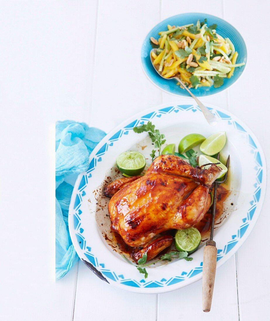 Roast Chicken with mango coconut salad