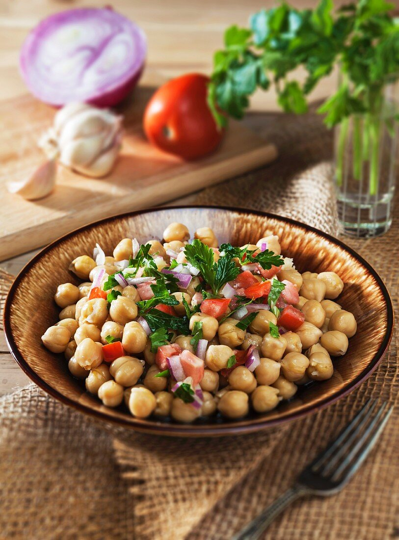Chickpea Salad with Tomato, Red Onion, Parsley and Garlic