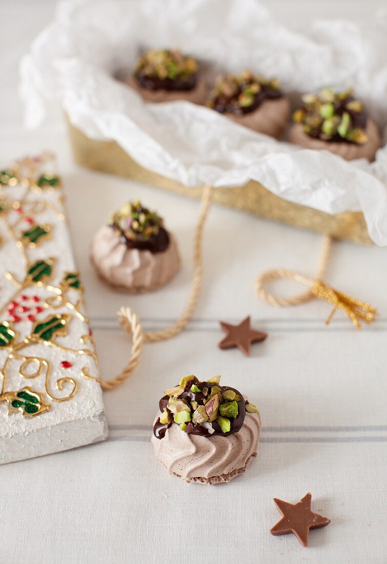 Orange-Chocolate Covered Meringues with Pistachios; In and Out of a Gift Box; Christmas Decoration