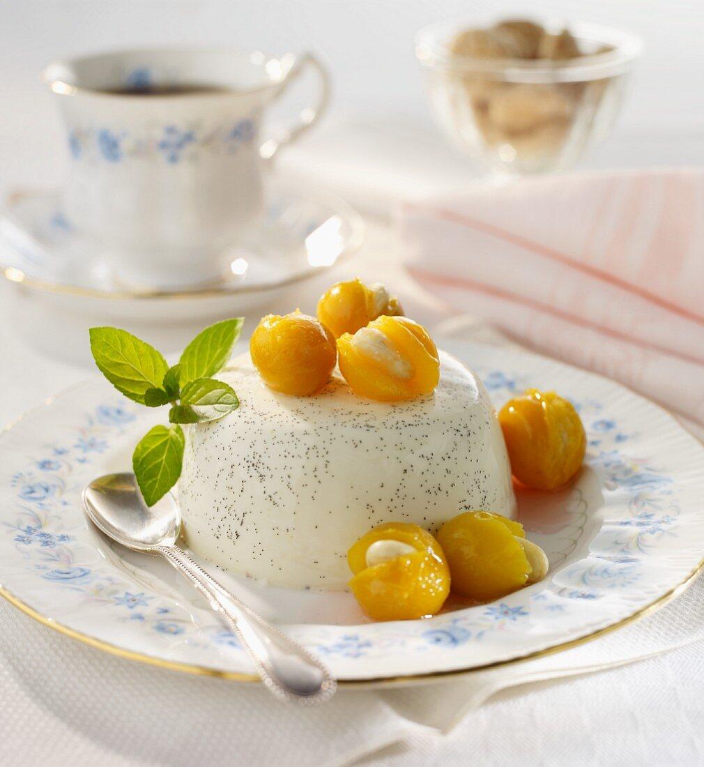 Panna cotta with almond-stuffed mirabelle plums