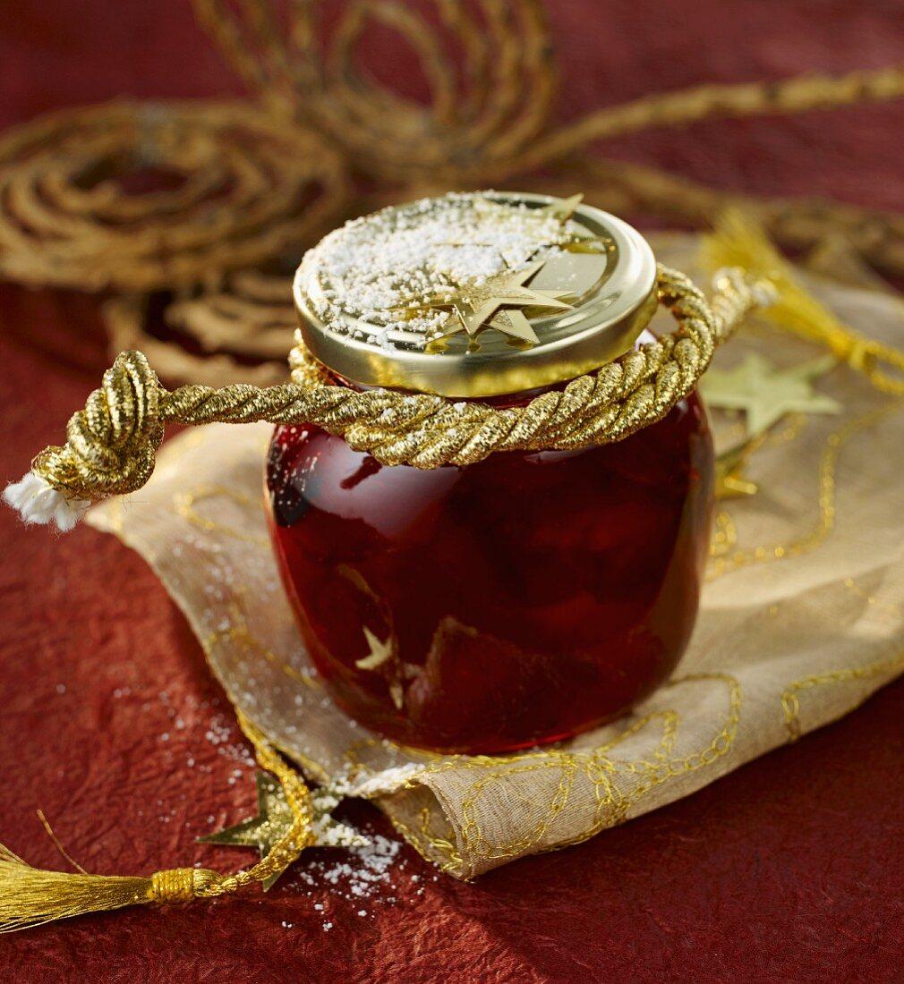 Christmassy cranberry and orange jam