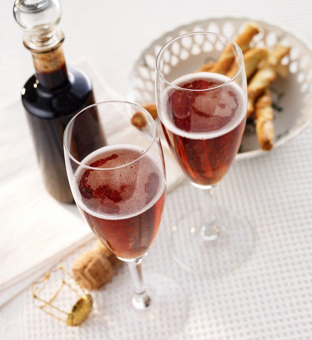 Champagne with crème de cassis