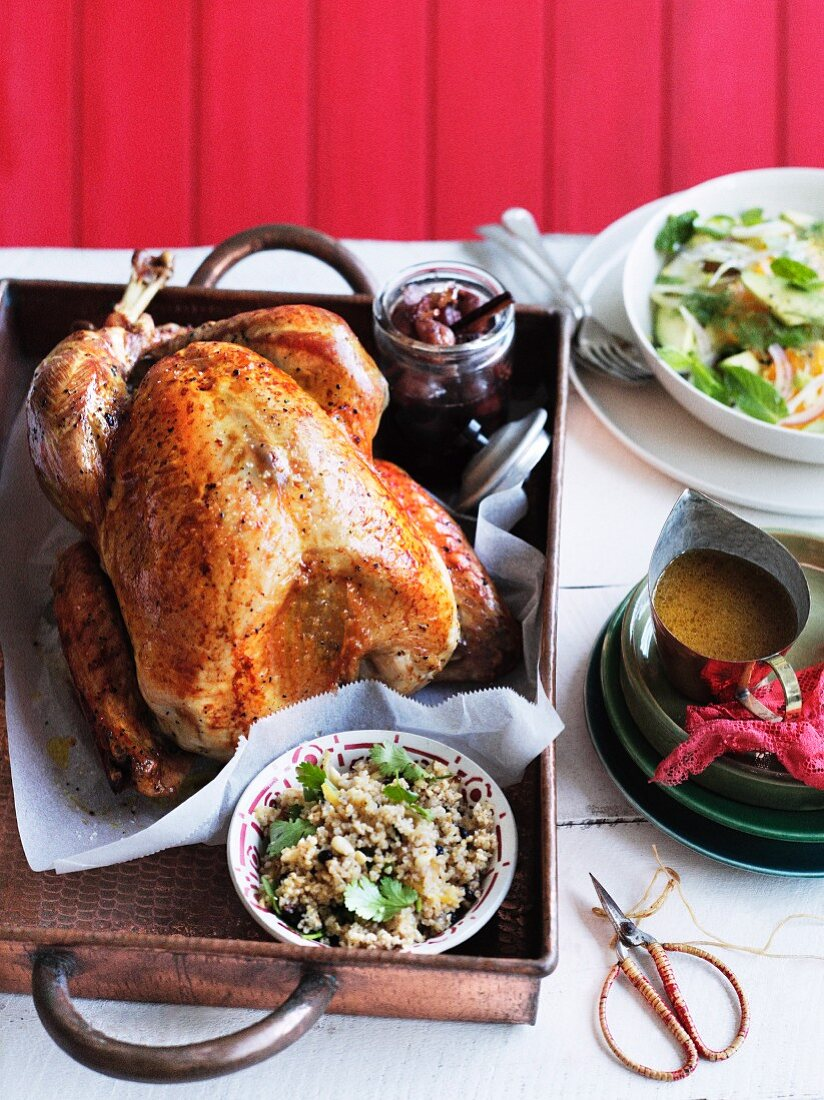 Roast turkey with bulgur stuffing and fig compote