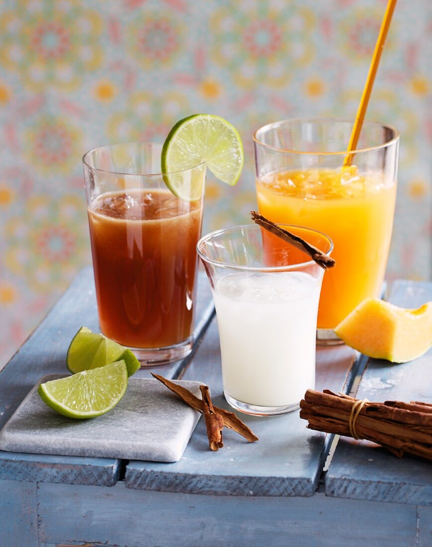 Three Mexican drinks with tequila