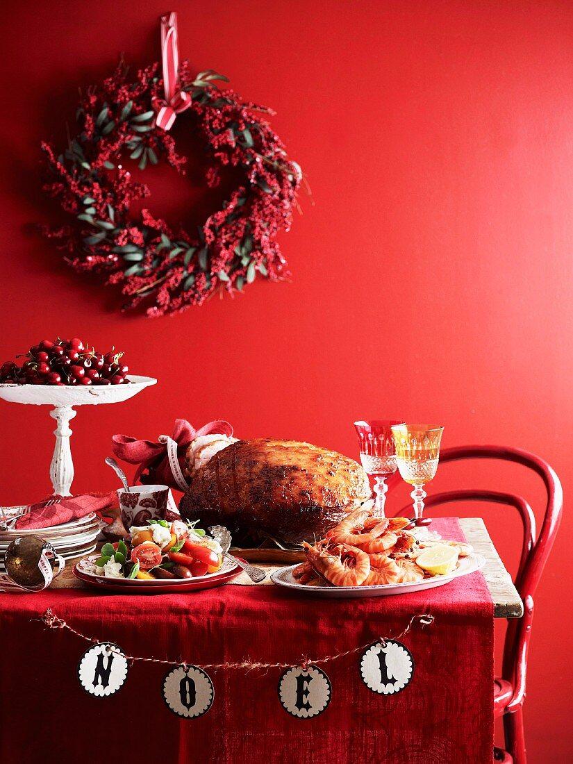 A Christmas buffet with a festive roast