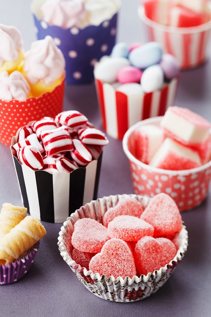 Sweet selection; paper cake cases filled with various sweets