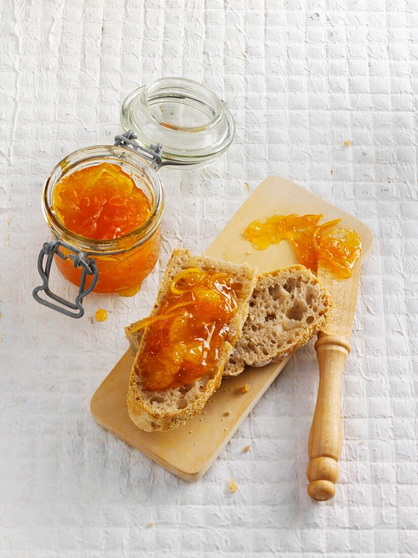 Slices of sourdough bread with marmalade