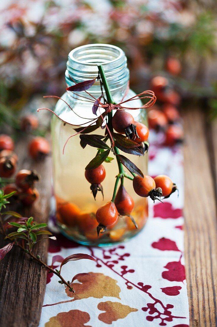 Rosehip vinegar in a bottle