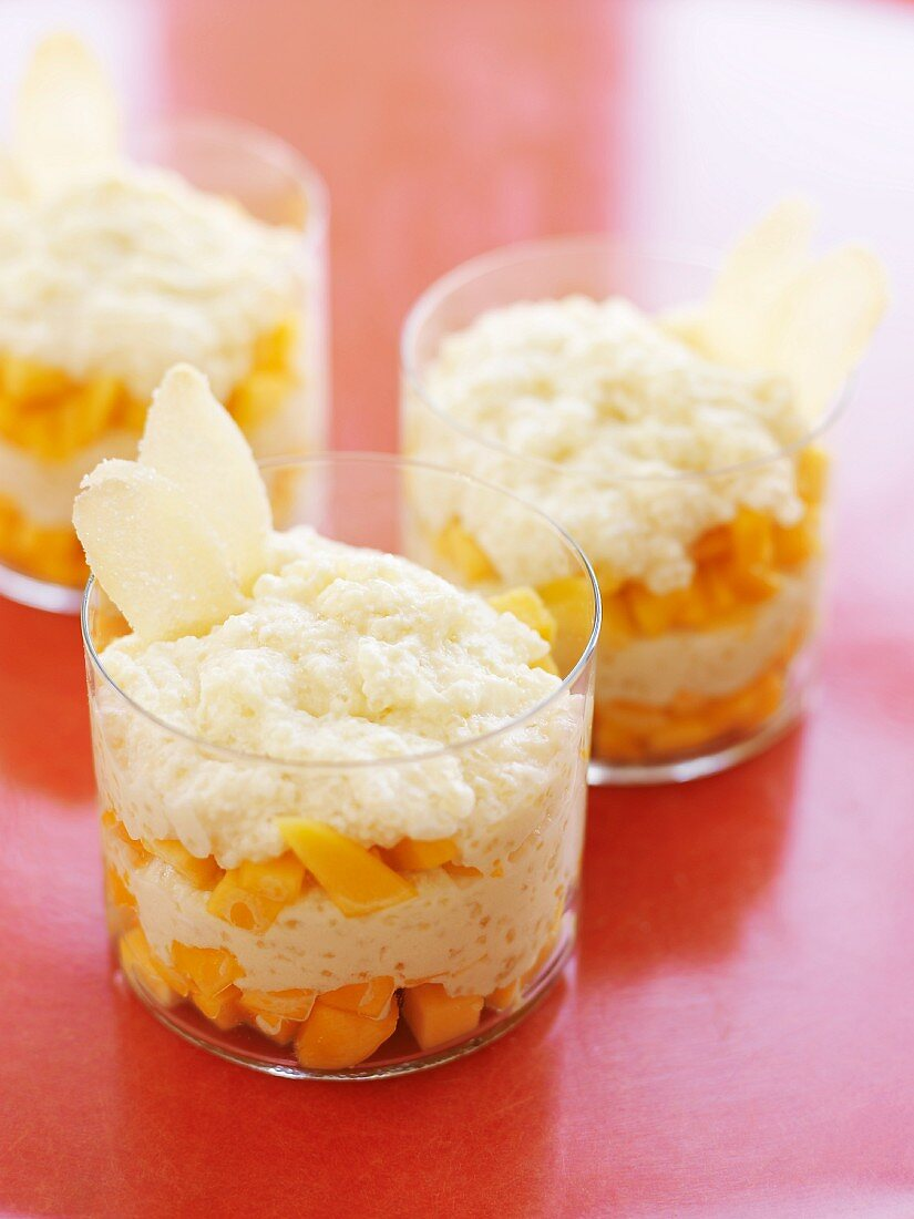 Tapioca Pudding Layered with Mango and Garnished with Candied Ginger