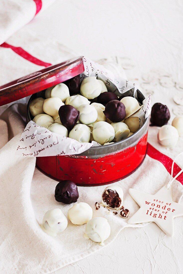 Vanilla bean and macadamia white chocolate truffles and minted dark chocolate truffles
